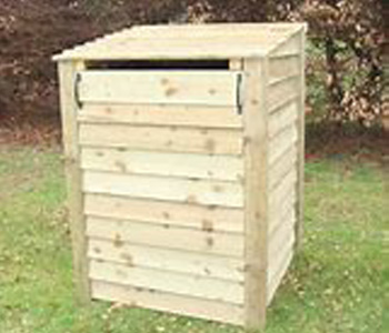 240 litre wheelie bin store by Berkshire Log Stores. Buy outdoor wooden recycling storage online