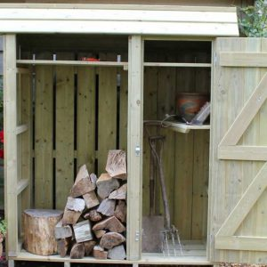 Tall wooden garden store with log store by Berkshire Log Stores. Buy handmade tall garden stores online