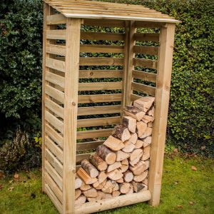Tall Slatted Garden Store with Log Store by Berkshire Log Stores