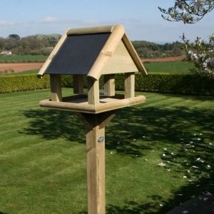 Wooden garden bird table with slate roof by Berkshire Log Stores. Buy wooden garden bird tables online