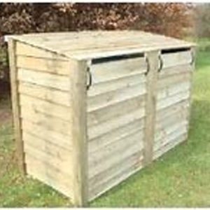 Wooden outdoor wheelie bin stores recycling box store by Berkshire Log Stores. Buy handmade outdoor recycling storage online