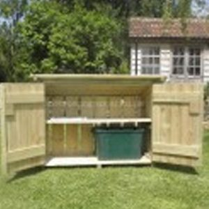 Wooden outdoory recycling box store by Berkshire Log Stores. Buy handmade outdoor recycling storage online