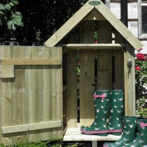 Wooden outdoor welly house / store by Berkshire Log Stores. Buy small outdoor garden storage online